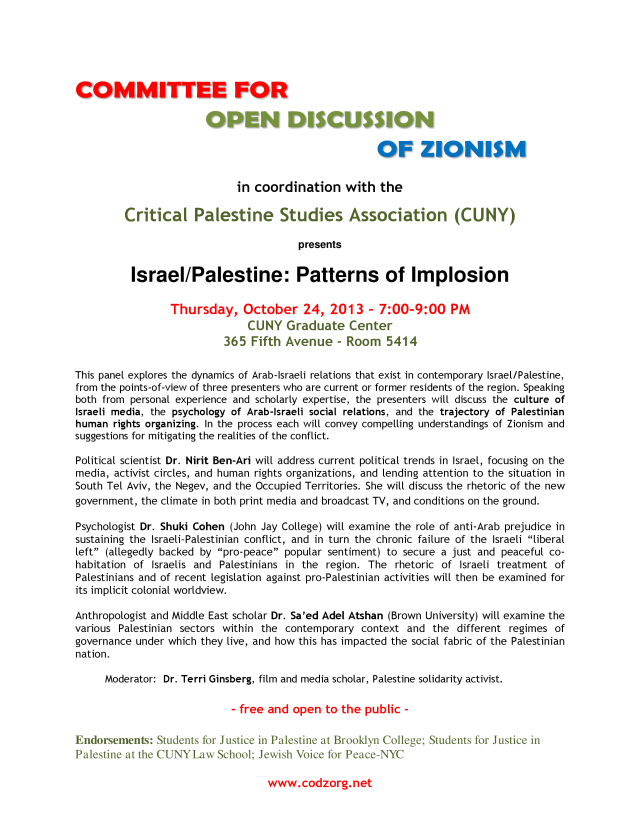 PANEL DISCUSSION-Israel/Palestine:Patterns of Implosion